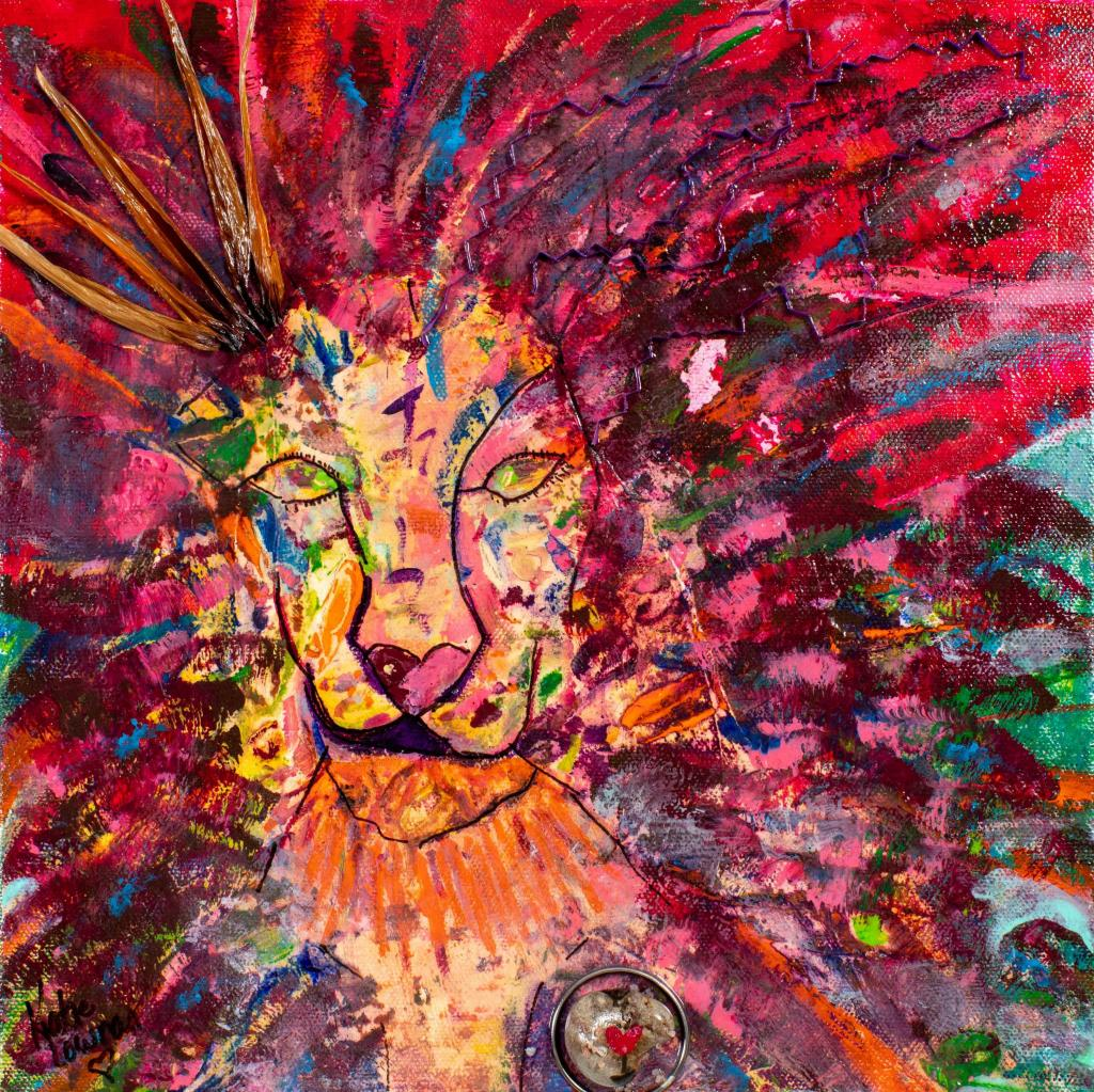 "2019 THE LION ORIGINAL ACRYLIC MIXED-MEDIA 12"" X 12"" ON WRAPPED CANVAS"
