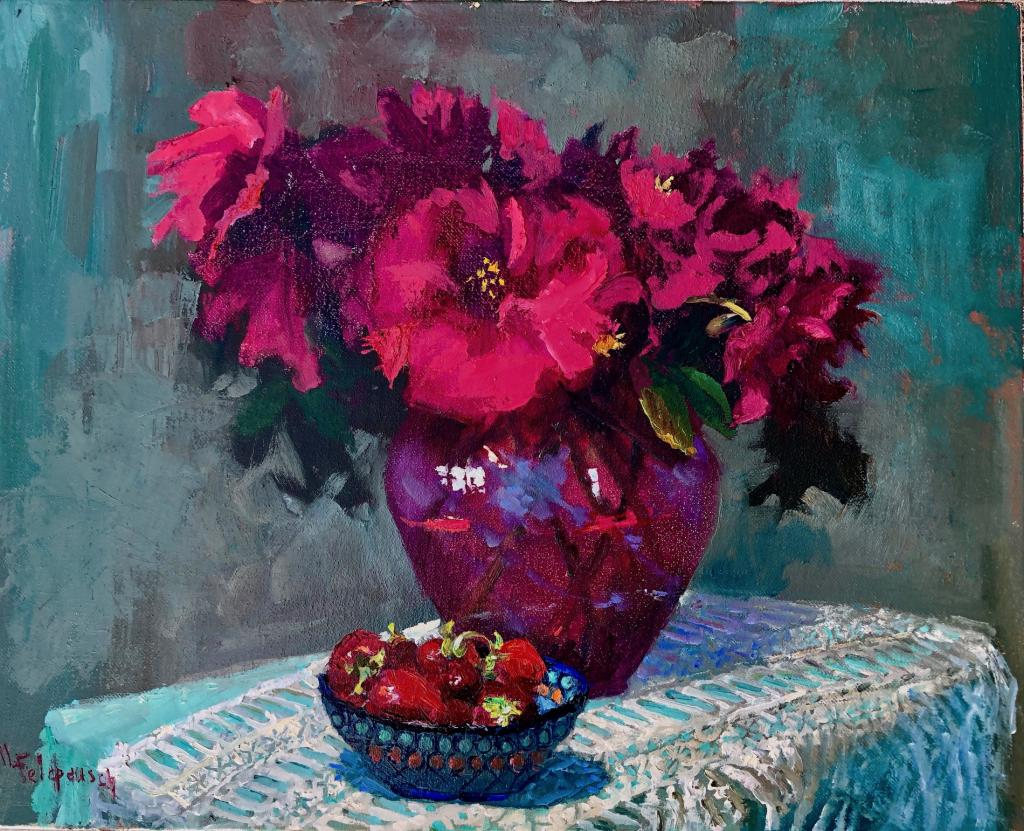 Red peonies polish Pottery