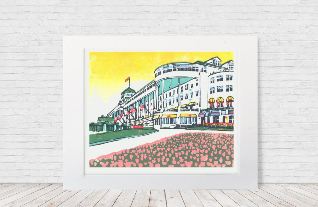 "Seven-color 8""x10"" linoleum multi-block print of Mackinac Island's iconic Grand Hotel. Made in 2018."