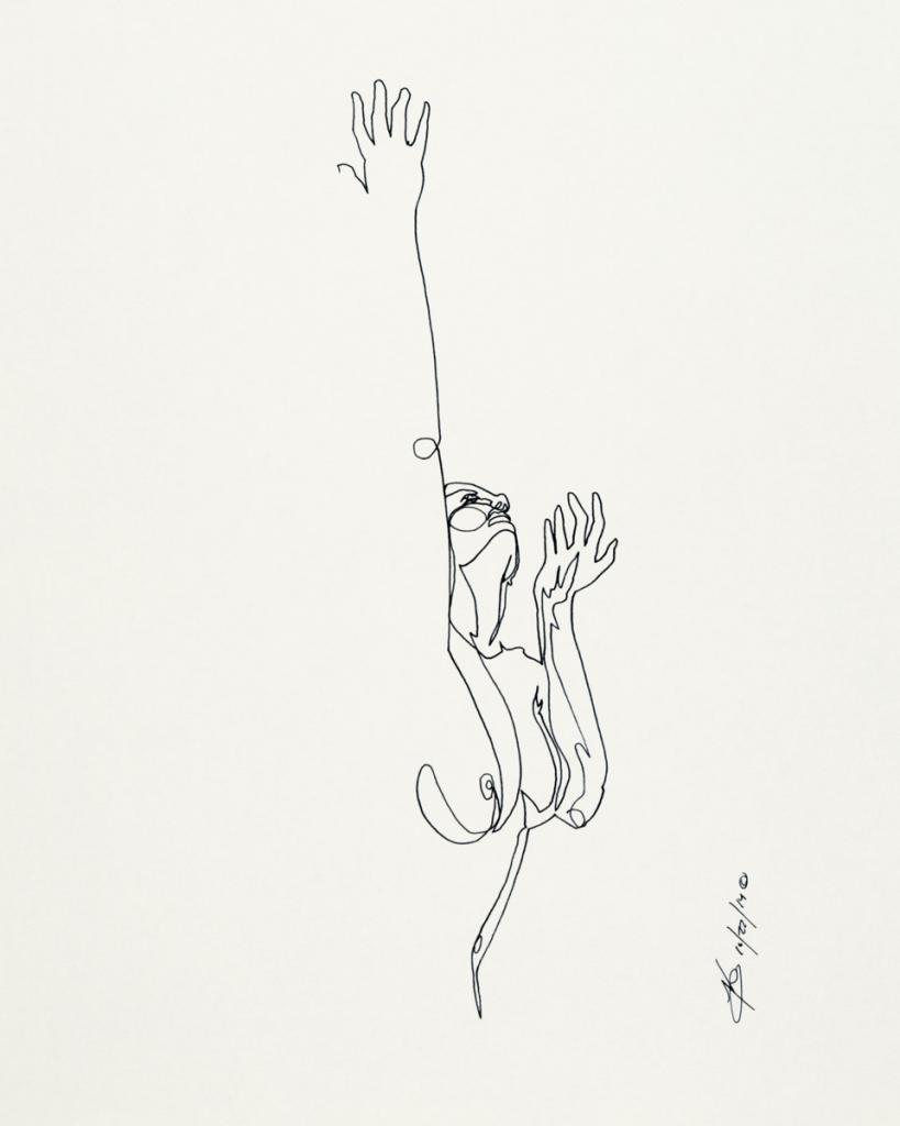 Single-line ink drawing of nude female figure
